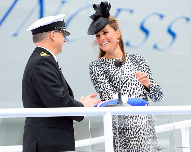 Duchess of Cambridge, Dalmation dress by Hobbs, Southampton, Royal Princess cruise ship naming ceremony, Southampton, Britain - 13 Jun 2013