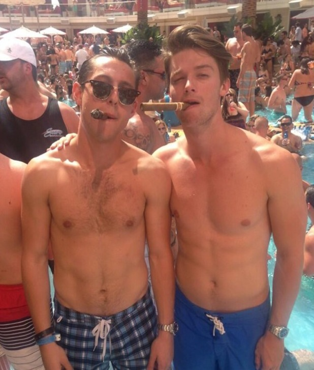 Patrick Schwarzenegger, twitter, shirtless, swimming trunks,