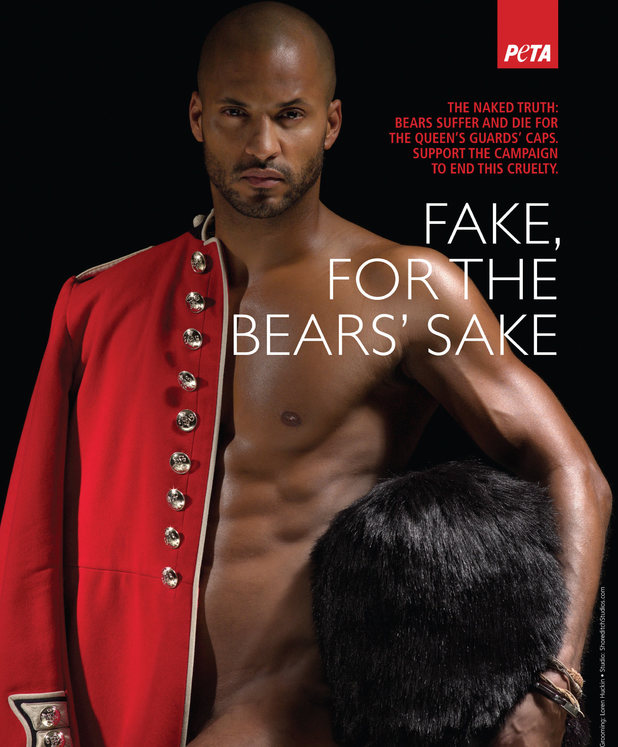 Ricky Whittle's nude PETA campaign poster