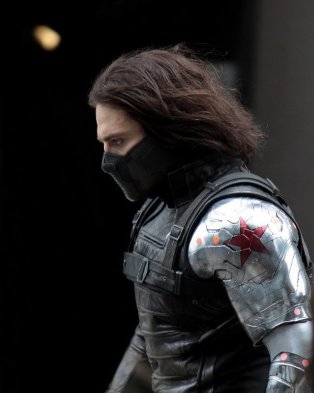 Sebastian Stan as the Winter Soldier on the set of 'Captain America 2'