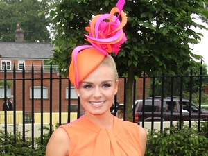 Katherine Jenkins, Day one of Ascot, hat, orange silk dress