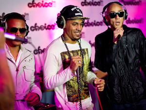 So Solid Crew members Romeo, Harvey and Kaish pictured during a live session at Choice FM