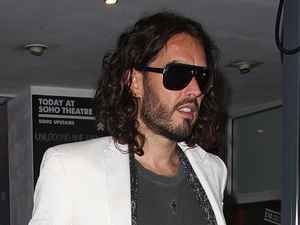 Russell Brand leaving the Soho Theatre after performing on his 'A Night Of Spontaneous Comedy'