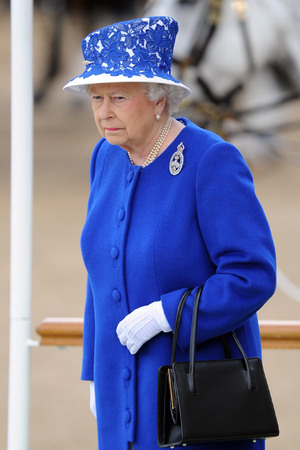 The Queen, trooping colour, Horse Guards Parade, a royal blue Angela Kelly coat and hat
