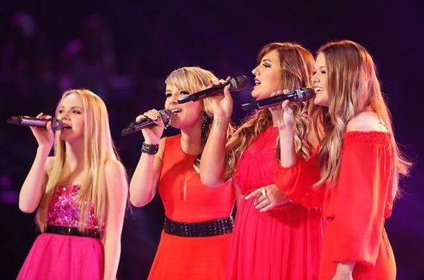 Danielle Bradbery, Amber Carrington, Sarah Simmons, Caroline Glaser during the finale of 'The Voice'