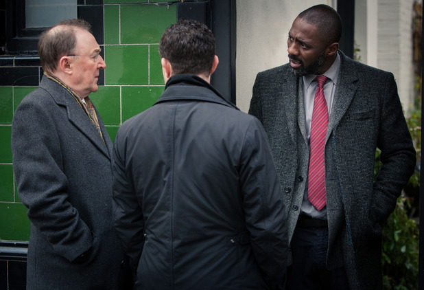 Luther - Series 3, Episode 1 - DSU Martin Schenk (Dermot Crowley), DCI John Luther (Idris Elba) and DS Justin Ripley (Warren Brown)