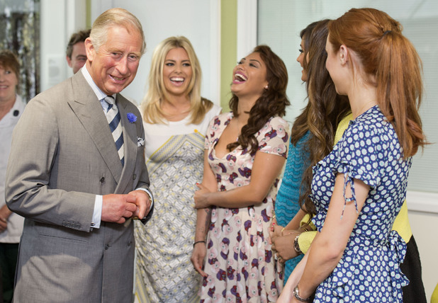 The Prince of Wales meeting girl group The Saturdays.