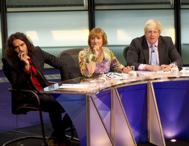 The panel, Russell Brand, Labour MP Tessa Jowell, Mayor of London Boris Johnson, host David Dimbleby, Energy and Climate Change Secretary Ed Davey and writer Melanie Phillips, during the filming of Question Time