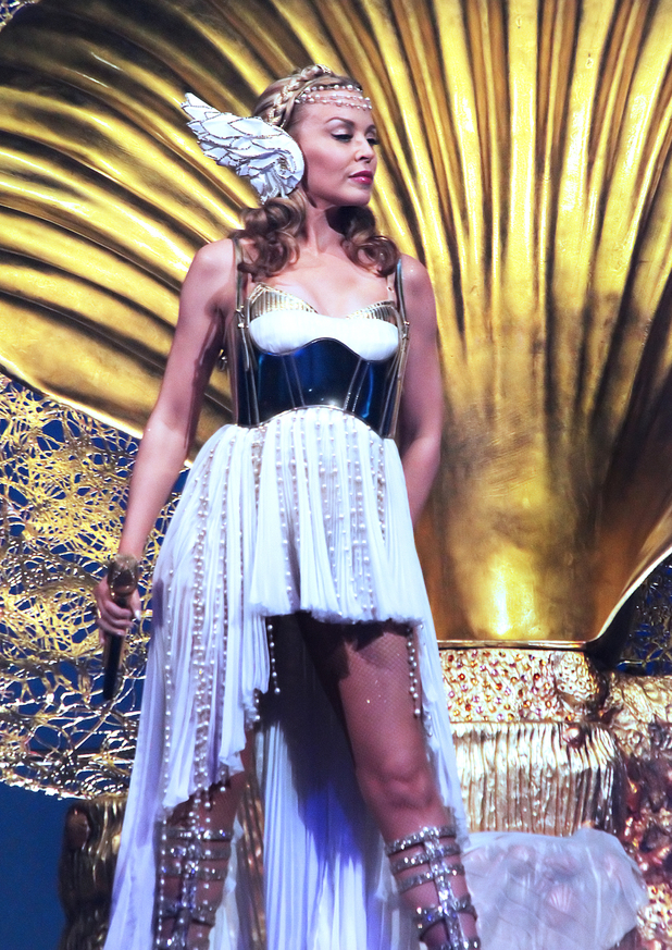 Kylie Minogue, performs during a concert on her Aphrodite-Les Folies Tour, at Mediolanum Forum in Assago, near Milan