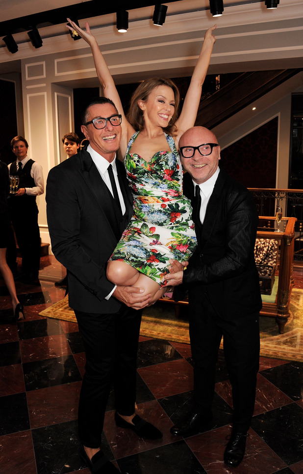 Kylie Minogue and designers Stefano Gabbana
