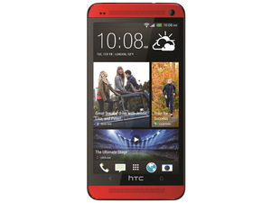 The HTC One smartphone in red