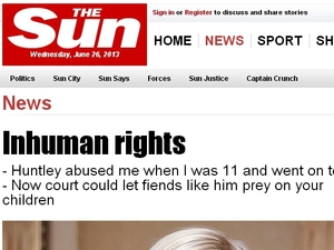 The Sun's revised 'Inhuman Rights' header