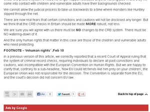 The Sun's 'Inhuman Rights' correction