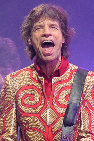 Mick Jagger of the Rolling Stones, perform on the Pyramid main stage at Glastonbury.