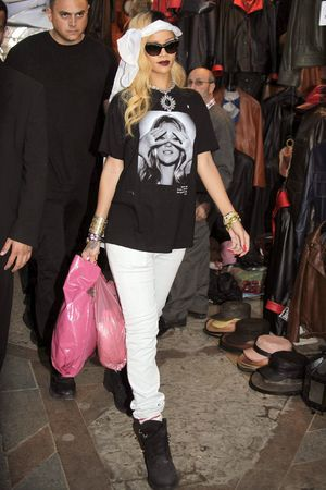 Rihanna out and about, Rabat, Morocco, Kate Moss t-shirt