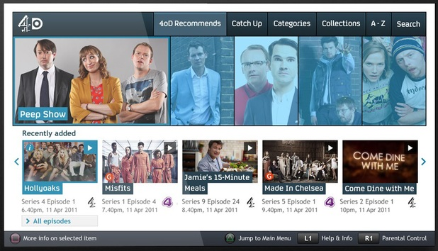 The new 4oD app for PlayStation 3