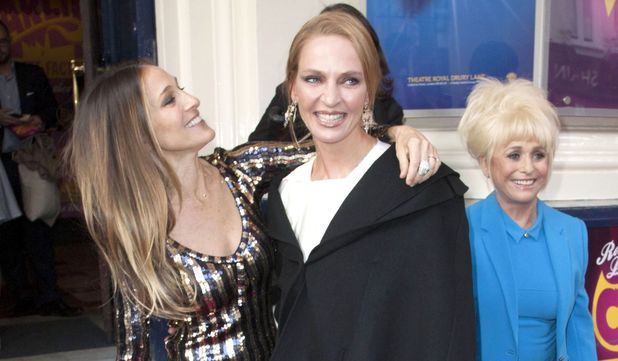 Sarah Jessica Parker, Uma Thurman and Barbara Windsor at the opening night of Charlie and the Chocolate Factory at the Theatre Royal, Drury Lane