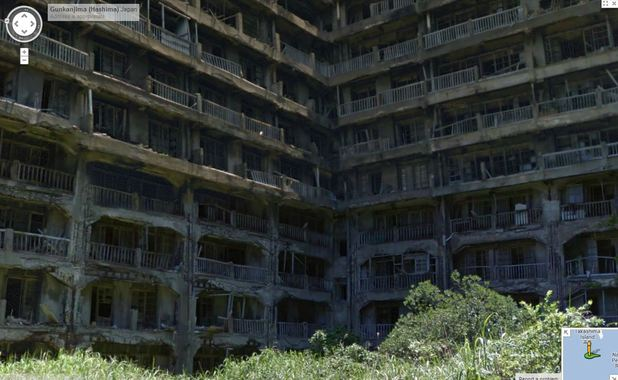 The abandoned Hashima Island on Google Maps