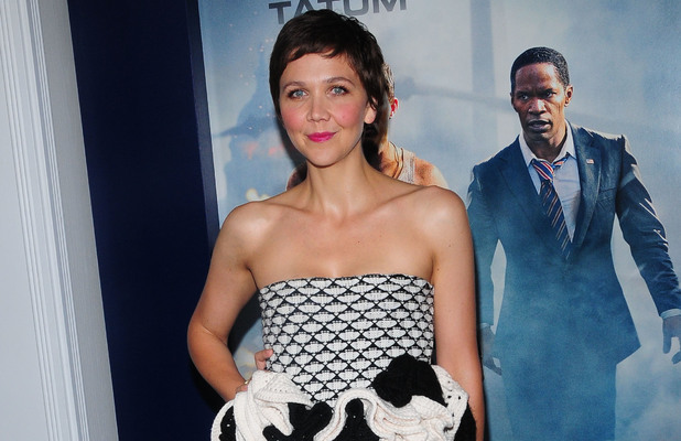 Maggie Gyllenhaal, New York premiere of 'White House Down', peplum style Christian Dior