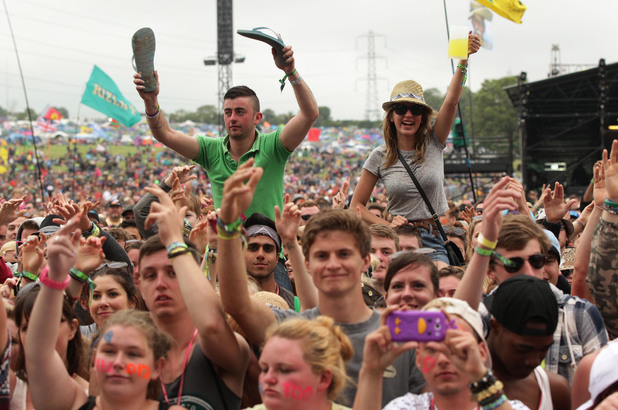 The crowd watching Professor Green performing on the the Pyramid Stage