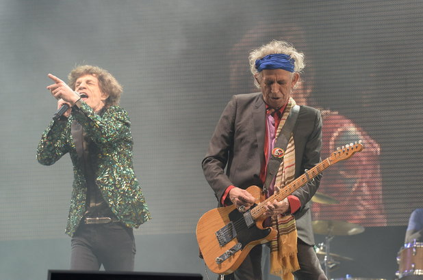 Mick Jagger and Keith Richards perform at Glastonbury 2013.