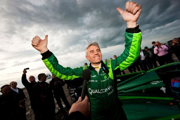 Lord Drayson following his successful world record attempt