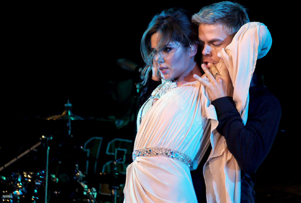 Cheryl Cole performing her last show of her UK tour at the LG Arena with dancer Derek Hough, 2010