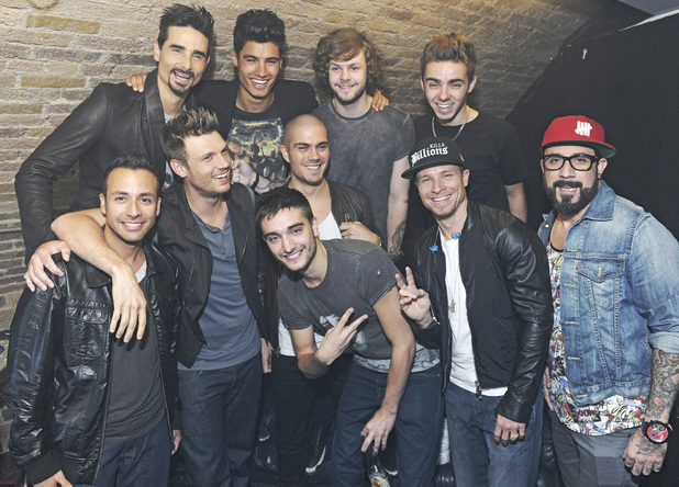 Backstreet Boys and The Wanted backstage at G-A-Y nightclub before their performances