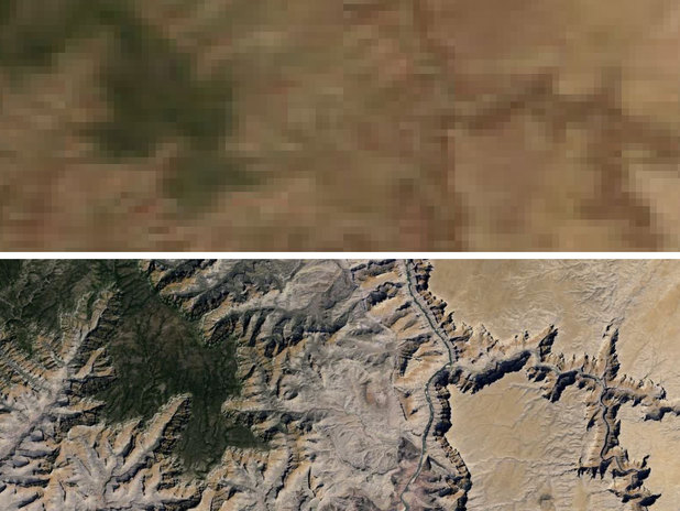The Grand Canyon before and after the Google Earth update