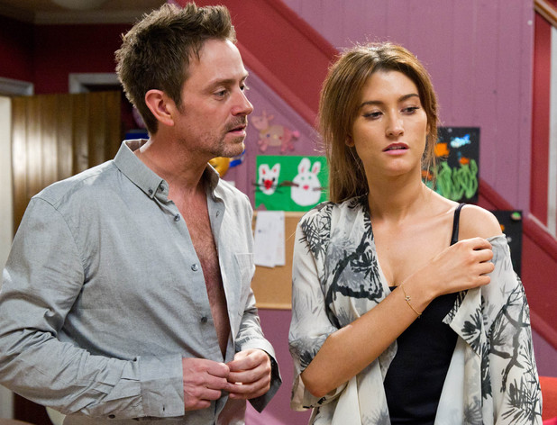 Debbie finds it difficult to resist Cameron and they end up sleeping together. Afterwards Debbie is shocked by what has happened and tells him to go, clearly scared by her feelings for him.