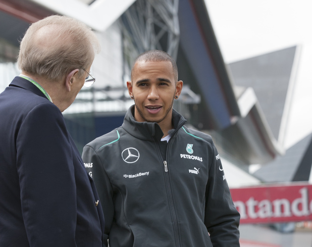 Lewis Hamilton and Sir David Frost at Silverstone ahead of the 2013 British Grand Prix ~~ June 27, 2013