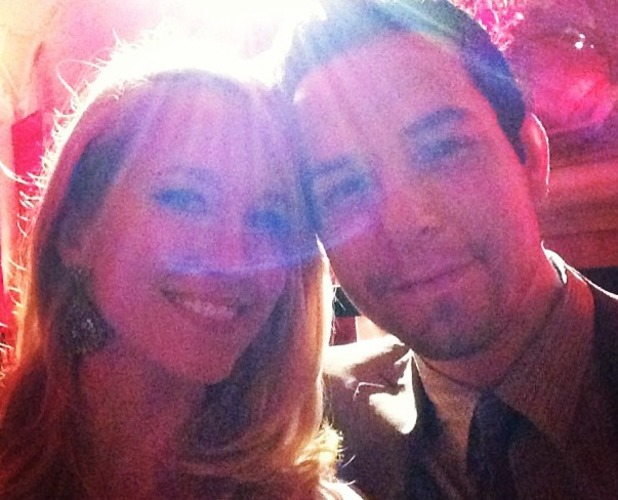 Anna Camp poses with Skylar Astin