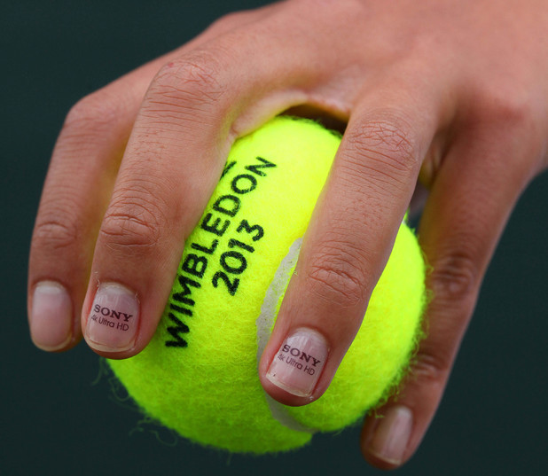 Anne Keothavong sports micro-sized messages on her fingernails to launch Sony's 4k Ultra HD trials, which will be held during the 2013 Wimbledon