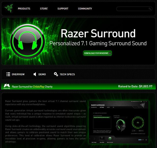 Razer Surround software website