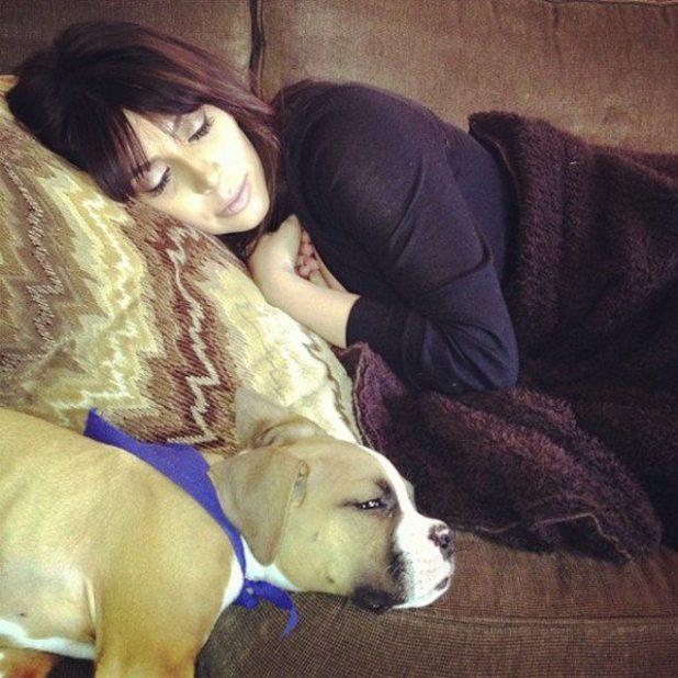 Kim Kardashian sleeping