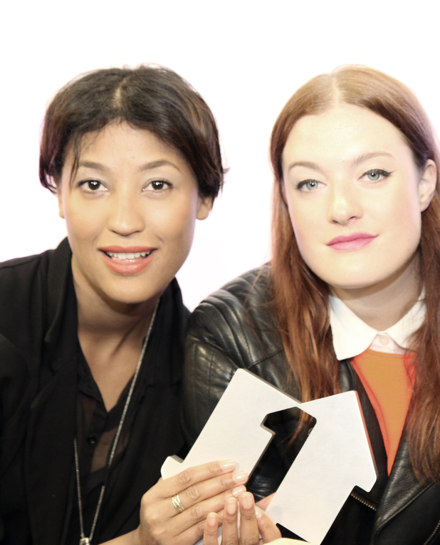 Icona Pop with their Official Number One award and Jameela Jamil