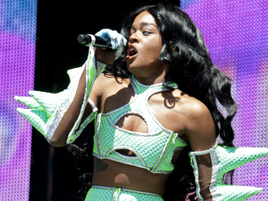 Azealia Banks performing at the Other Stage of Glastonbury Festival, at Worthy farm in Somerset.