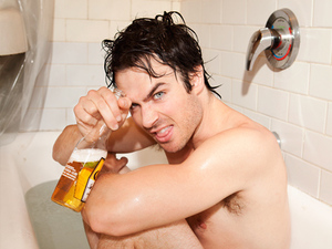 Ian Somerhalder bath photoshoot