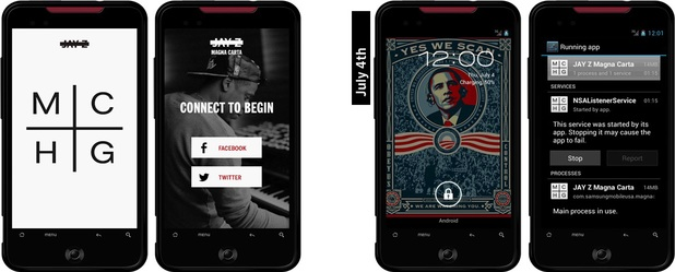 Cloned version of Jay-Z's Magna Carta Holy Grail app