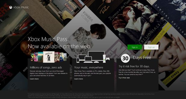 Xbox Music web-based version screenshot