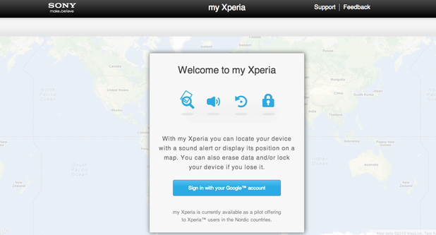 Screenshot of Sony's My Xperia service