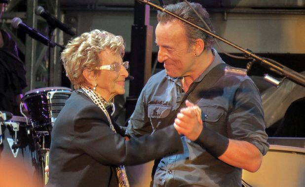 Bruce Springsteen and his mother Adele dance on stage at Hard Rock Calling Festival