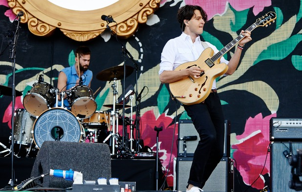 Chris Tomson and Ezra Koenig of Vampire Weekend perform on Day 4 of Glastonbury Festival