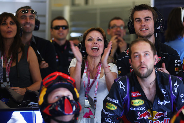 Geri Halliwell and Carol Vorderman in the Red Bull garage