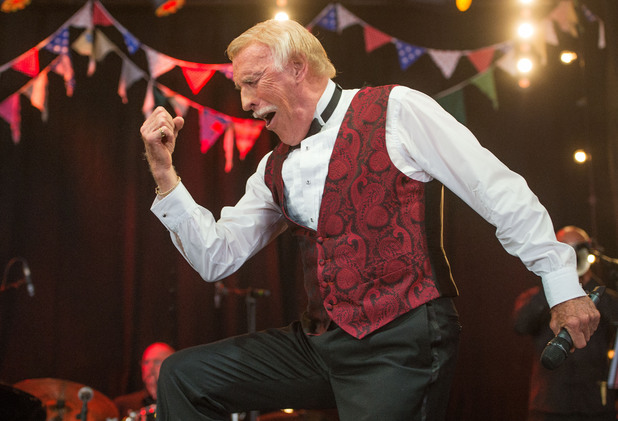 JUNE 30: Sir Bruce Forsyth performs on the Avalon Stage at the Glastonbury Festival of Contemporary Performing Arts at Worthy Farm