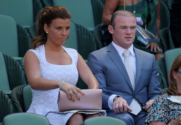Wayne and Coleen Rooney in the Royal Box at the Wimbledon Men's Final