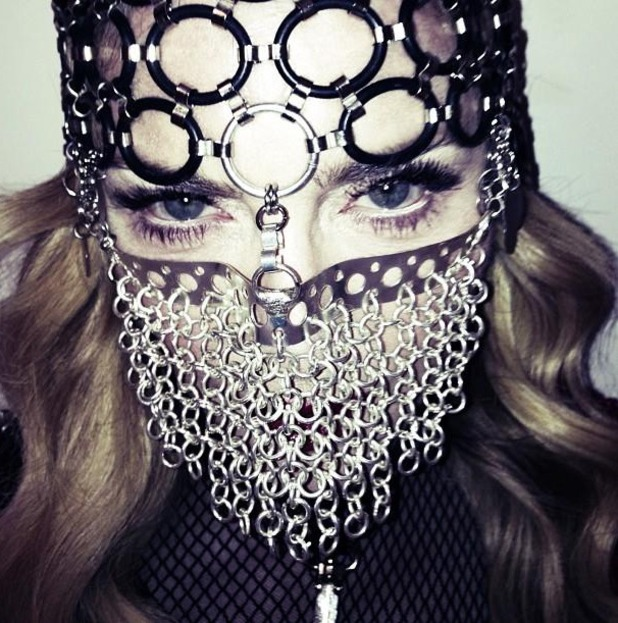 Madonna, niqab mask, chain-mail