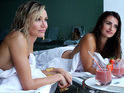 Cameron Diaz and Penelope Cruz share a poolside chat in Ridley Scott's The Counsellor.