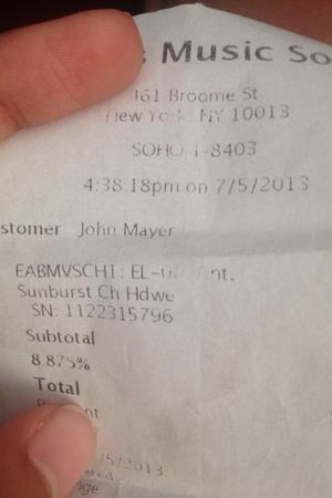 The receipt after John Mayer bought a fan a guitar