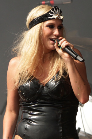 Ke$ha performing on the Main Stage at the Yahoo! Wireless Festival, at the Queen Elizabeth Olympic Park in east London.